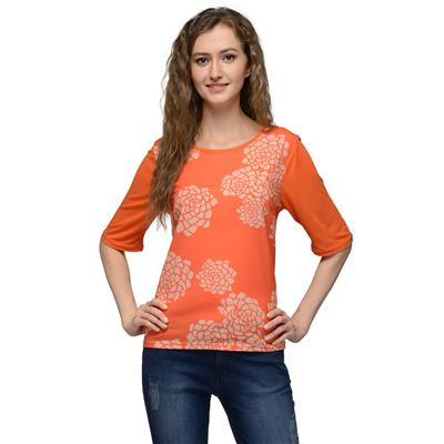 United Colors of Benetton Orange POLYESTER & VISCOSE Top for Women