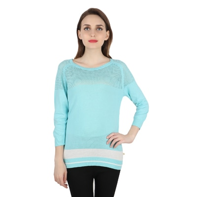 United Colors of Benetton Blue Cotton Tops for Women