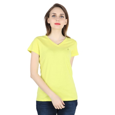 United Colors of Benetton Green Cotton Tshirt for Women