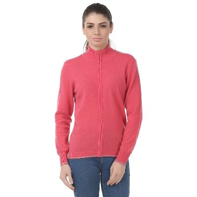 United Colors Of Benetton Pink Lambs Wool Sweaters For Womens
