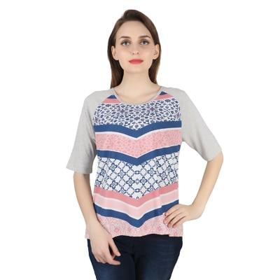 United Colors of Benetton Multi Viscose Tshirt for Women