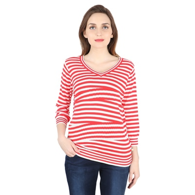 United Colors of Benetton Red Cotton Tops for Women