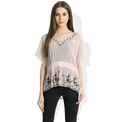 V Neck Half Sleeves Casual Top