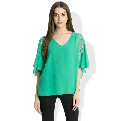 V Neck Half Sleeves Green Color Casual Top