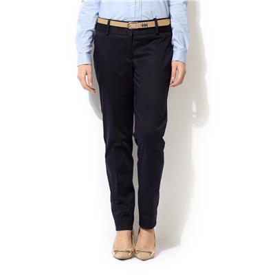 Van Heusen Navy Cotton Lycra Blend Regular Fit Formal Trouser