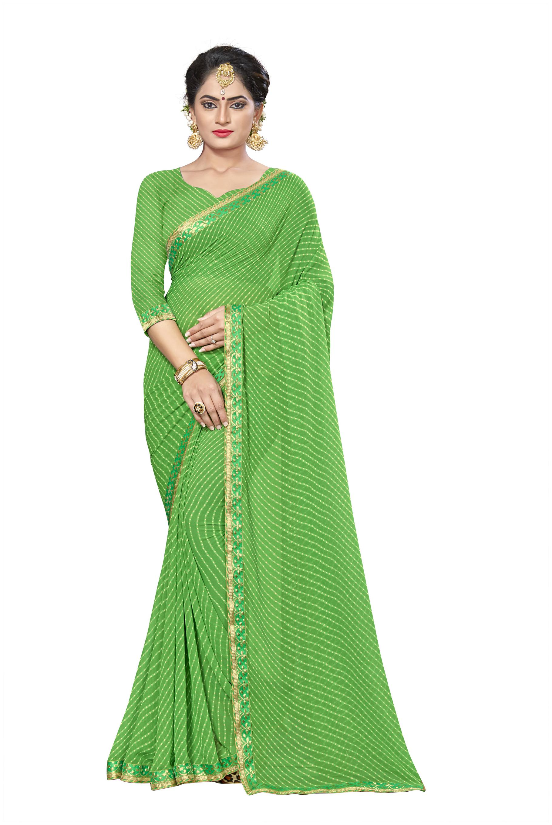 Vardan Prints Georgette Universal Gotta Patti Work Saree - Green