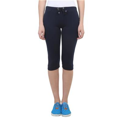 Vimal Navy Blue Cotton Blend Trackpant For Women