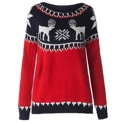 Vintage Round Neck Long Sleeve Fawn Snowflakes Print Women's Sweater # International Bazaar