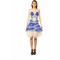 Viona Corset Blue Polyester Dress