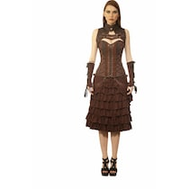 Viona Corset Brown Polyester Dress