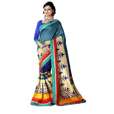 Visva Fashion Designer Printed Bhagalpuri Silk Bandhani Saree With Blouse Piece