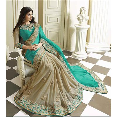 Skyblue Fashion Wedding Wear Half Half In Georgette And Lycra Fabric Sari With Embroidered Blouse Fabric