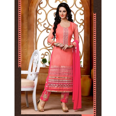 Win fashion Pink Cotton embroidered Salwar Suit With Bottom Work