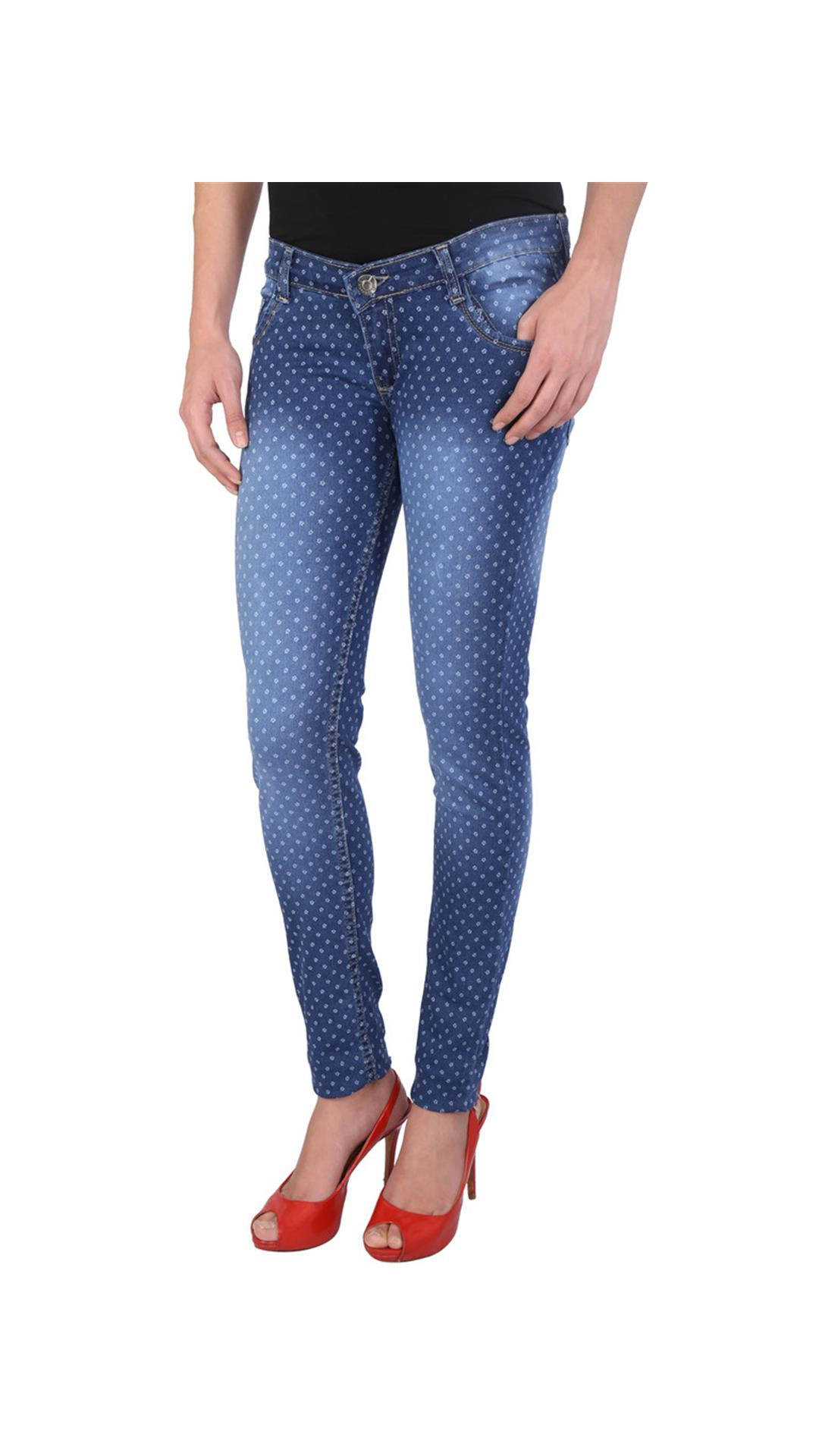 WineGlass Printed Denims stretchable Slim fit Jeans For Women, Colour Blue 720-CH Size
