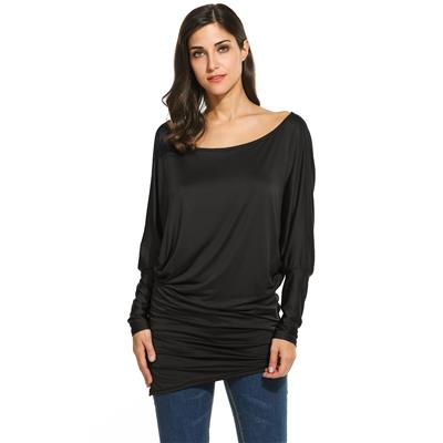 Women Fashion Loose One Shoulder Batwing Long Sleeve Solid Long Blouse Top
