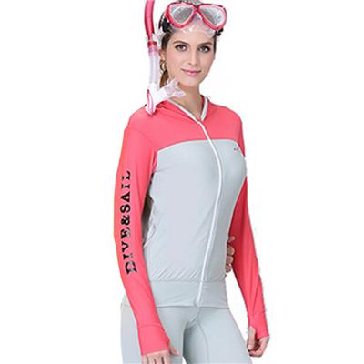 Women Long Sleeve Swimwear Snorkeling Diving Rashguard Shirts Hooded Front Zip Sunscreen Surf Sail T Shirt Wetsuit Tops red grey