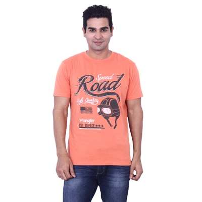 Wrangler Orange Cotton T-Shirt