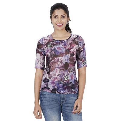 Wrangler Purple Polyester Printgeorgette Shirts