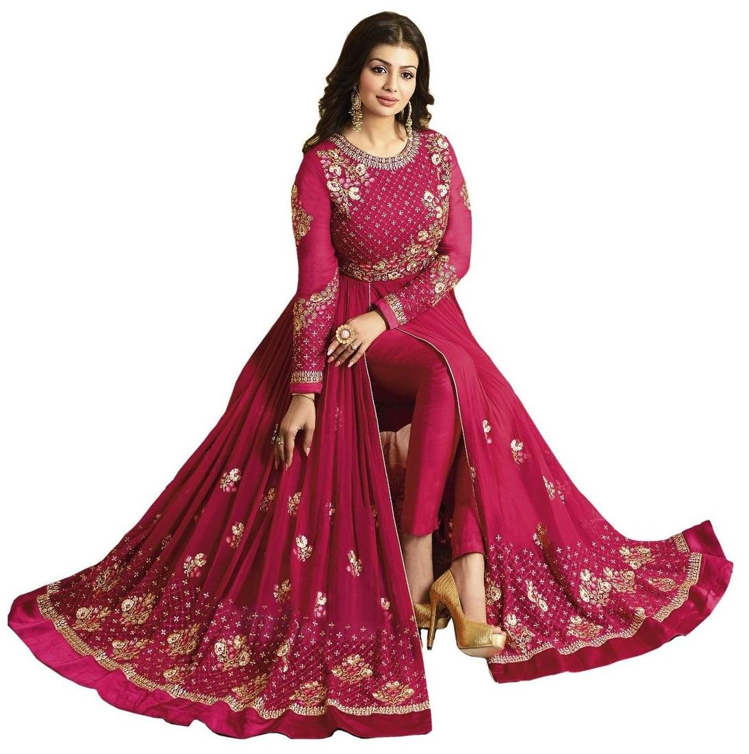 YOYO Fashion Georgette Comfort Floral Gown - Pink