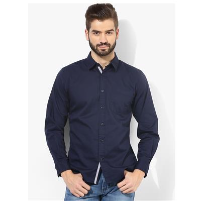Zavlin navy cotton casual shirt