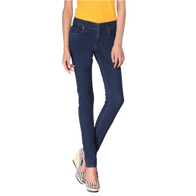 Zedon Slim Fit Dark Blue Denim Mid Waist Jeans For Women