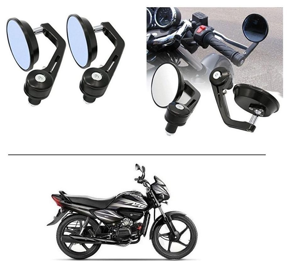 AutoStark 7/8 22cm Motorcycle Rear View Mirrors Handlebar Bar End Mirrors - Hero Splendor NXG