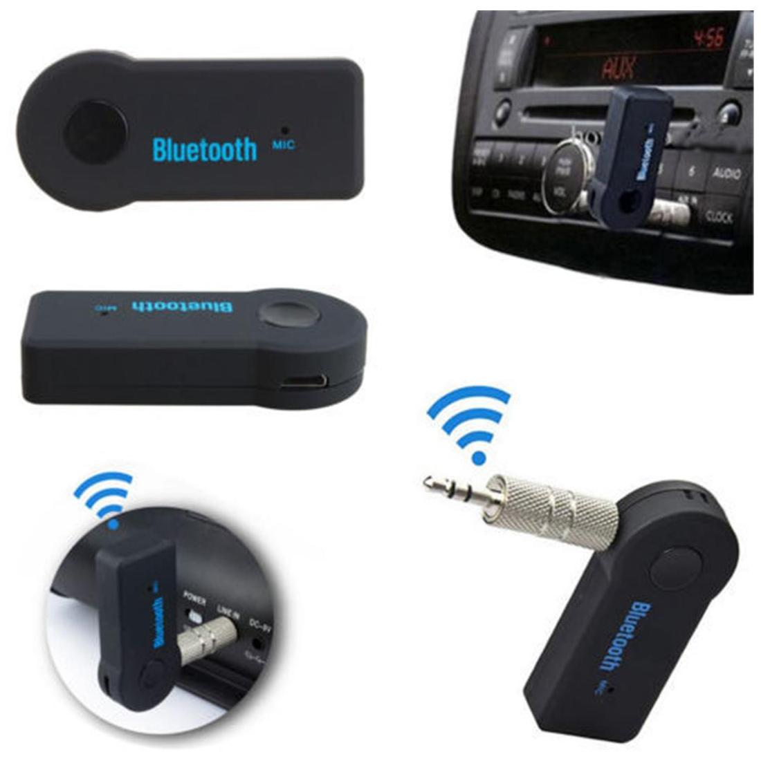 Bluetooth 3.0 Handsfree Car Kit Bluetooth Music Receiver Adapter With Built - In Mic and 3.5 Mm Aux Output For Car Audio System I Phone Samsung and Other Smartphones.