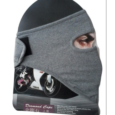 D3 Grey Plain Ninja Bike Riders Full Face Cover Mask...