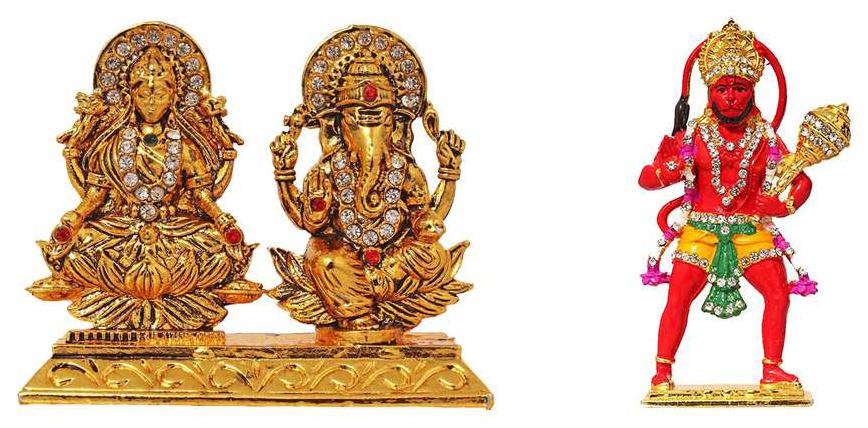 FABZONE Combo of 2 Lord Laxmi Ganesha & Hanuman Car Dashboard Bajrangbali Statue Goddess Lakshmi Ganesh Idol Spiritual Puja Vastu Showpiece Figurine - Religious Murti Pooja Gift Item / Home De cor