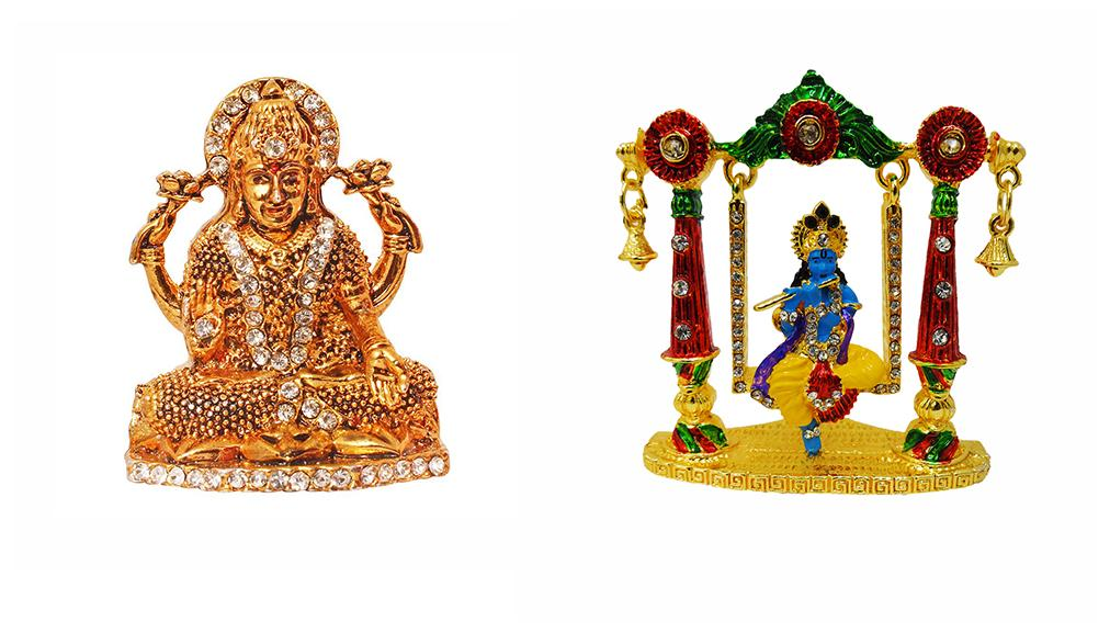 FABZONE Combo of 2 Lord Laxmi & Krishna Statue Goddess Lakshmi Car Dashboard Idol Diwali Decorative Spiritual Puja Vastu Showpiece Figurine - Religious Murti Pooja Gift Item / Temple / Home