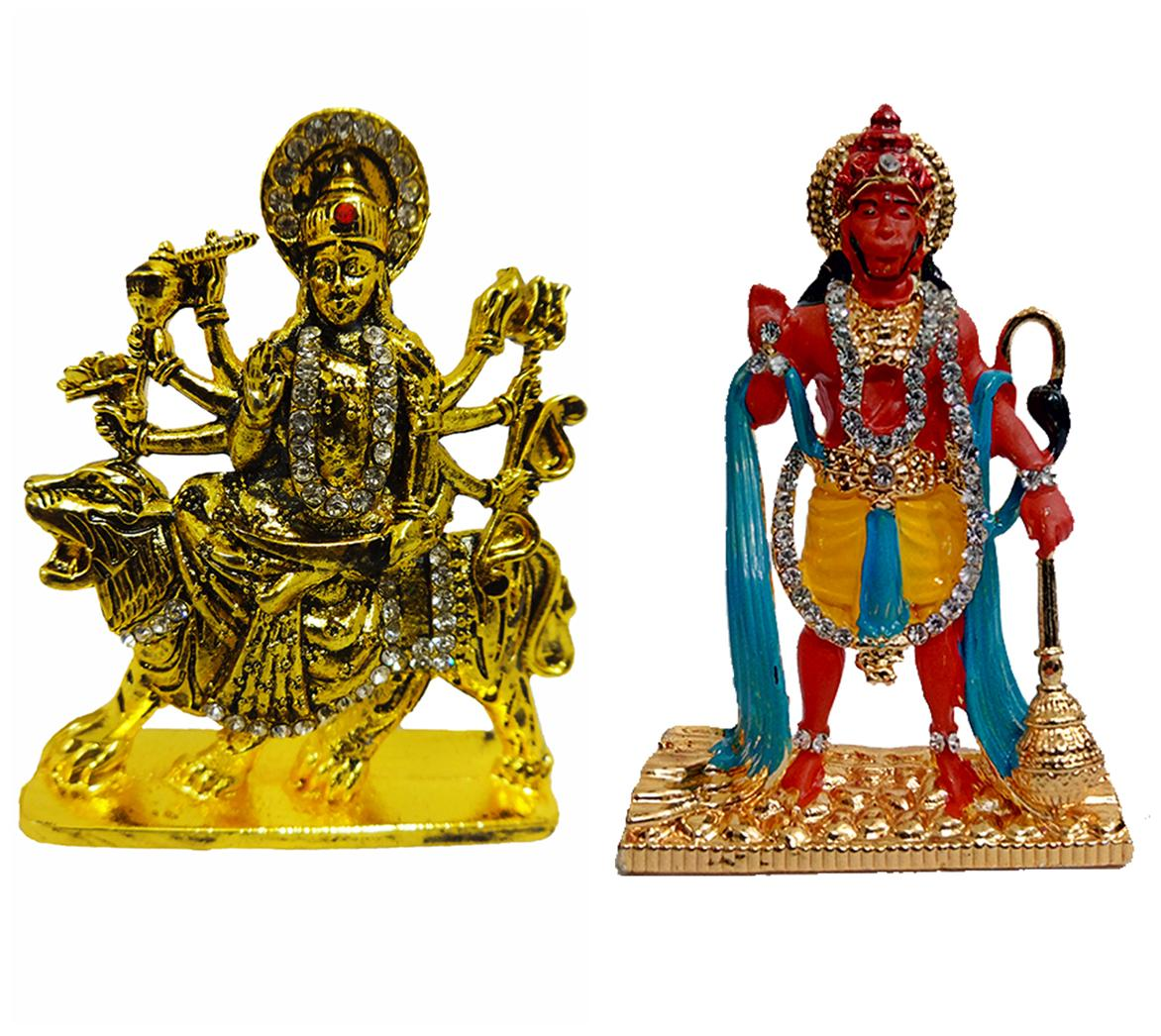 Fabzone Goddess Durga Devi & Hanuman Car Dashboard Idol Statue Spiritual Puja Vastu Showpiece Figurine - Religious Murti Pooja Gift Item