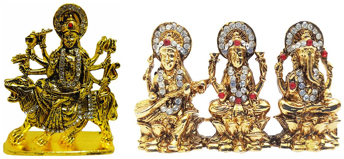 Fabzone Goddess Durga Devi & Saraswati Laxmi Ganesh Car Dashboard Idol God Statue Spiritual Puja Showpiece Figurine - Religious Pooja Murti