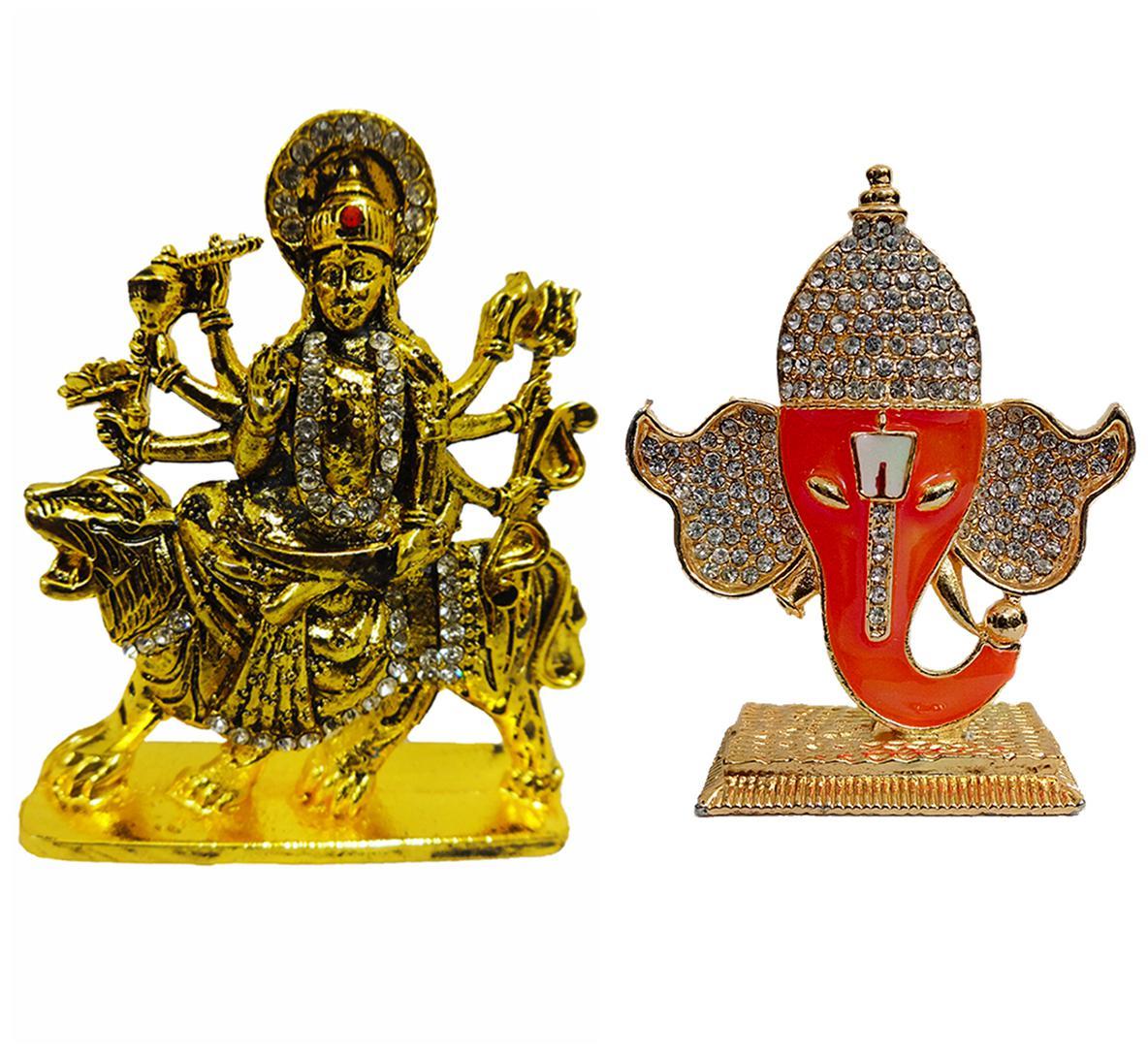 Fabzone Goddess Durga Devi & Ganesha Car Dashboard Idol God Statue Spiritual Puja Vastu Showpiece Figurine-Religious Murti Pooja Gift Item