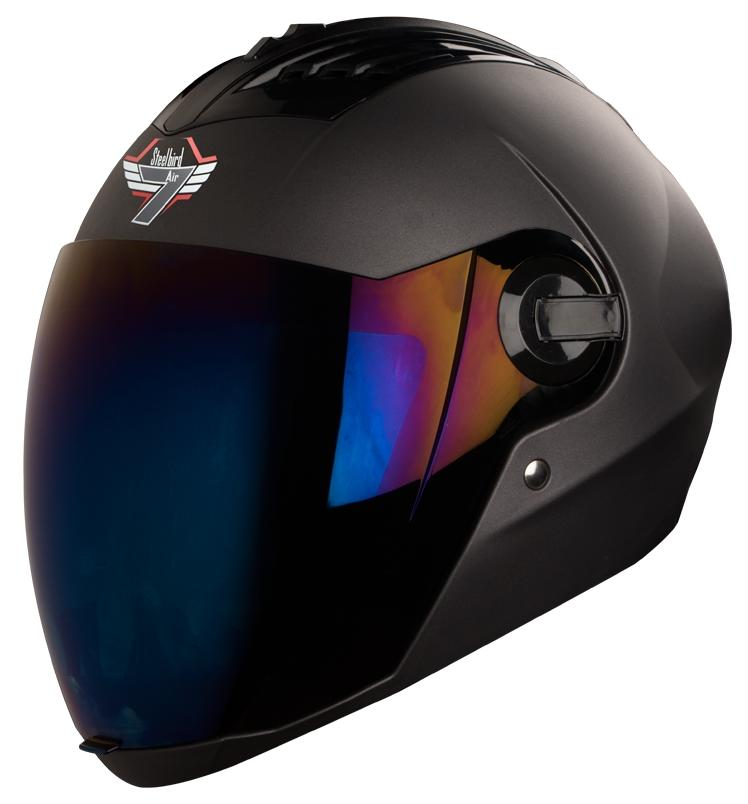Steelbird SBA-2 7WINGS Full Face Helmet In Matt Finish with Tinted Visor (Large 600 MM;Matt Honda Grey/Ir. Blue Visor)