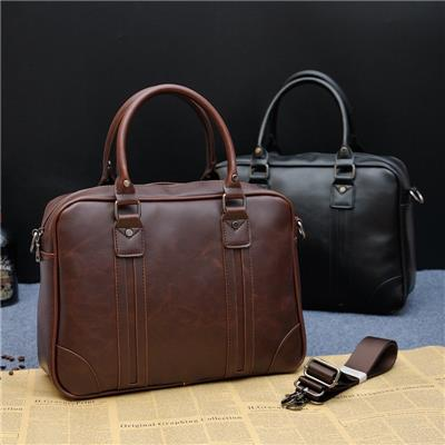 2016 Crazy Horse Leather Men Portable Bag Business Crossbody Bag One Shoulder Laptop Briefcase Bag Fashion Korean Men Bag (Intl)