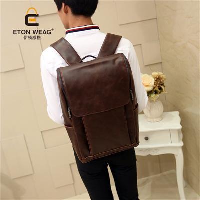 2016 New Korean Backpack Outdoors Leather Rucksack Bag School Back Pack Leisure Bag British Old School Laptop Men Bag (Intl)