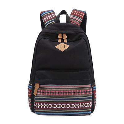 Aeoss Backpack Women Bohemian Aztec Tribal Print Bag (Black)