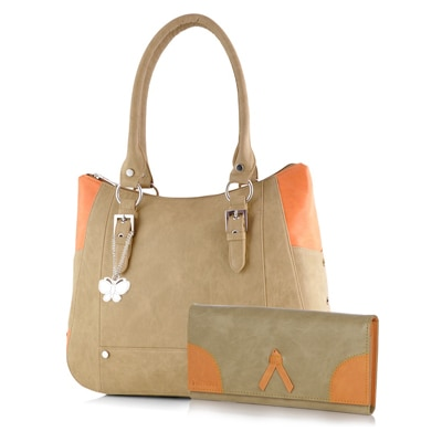Butterflies Beige Pu Handbag With Wallet