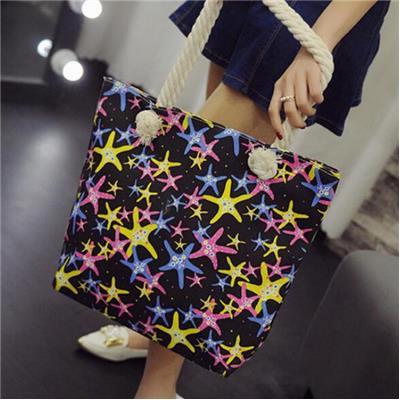 Fashion Women Casual Print Canvas Handbag Single Shoulder Messenger Bag BK