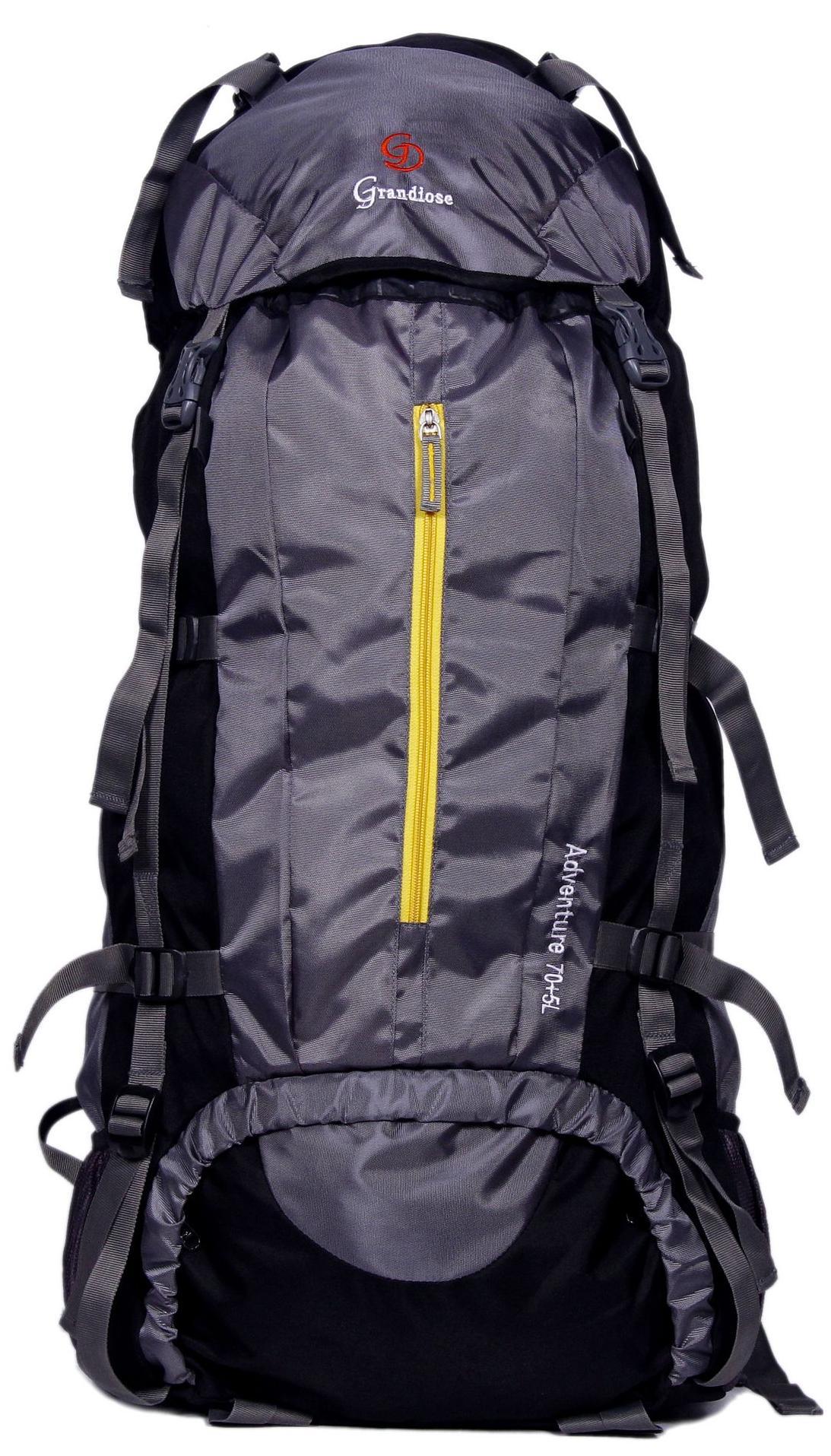 Grandiose 75L Grey Chain Model Hiking Trekking Camping Rucksack Backpack Bags (GTB67501GY)