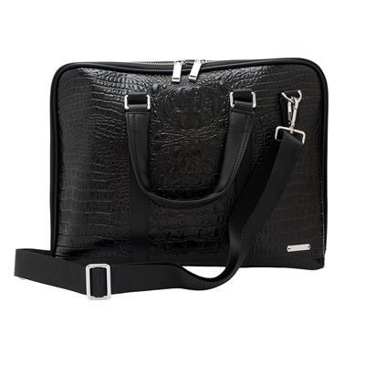 HSR Stylish Black Messenger & Shoulder Leather Laptop Bag