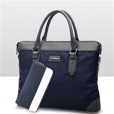New Men's Waterproof Business Bag Korean Fashion Briefcase Horizontal Crossbody Bag Practical Tote Bag Shoulder Bag Present A Wallet(Dark Blue)
