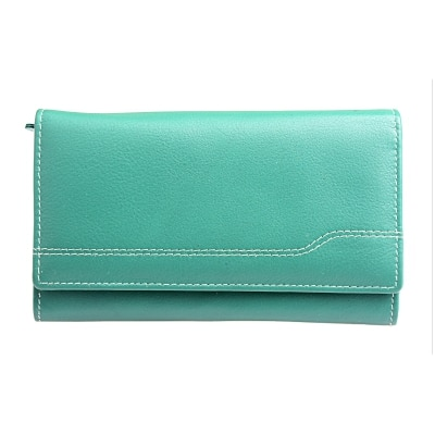 Thayla Zip Closure Ladies Green Leather wallet