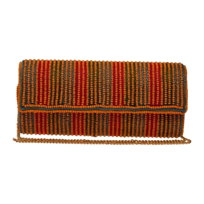 The Indian Handicraft Store Colourful Stripes And Orange Beads On Flap Designer Handmade Clutch