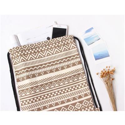 Unisex Retro Geometric Backpacks Printing Bags Drawstring Backpack