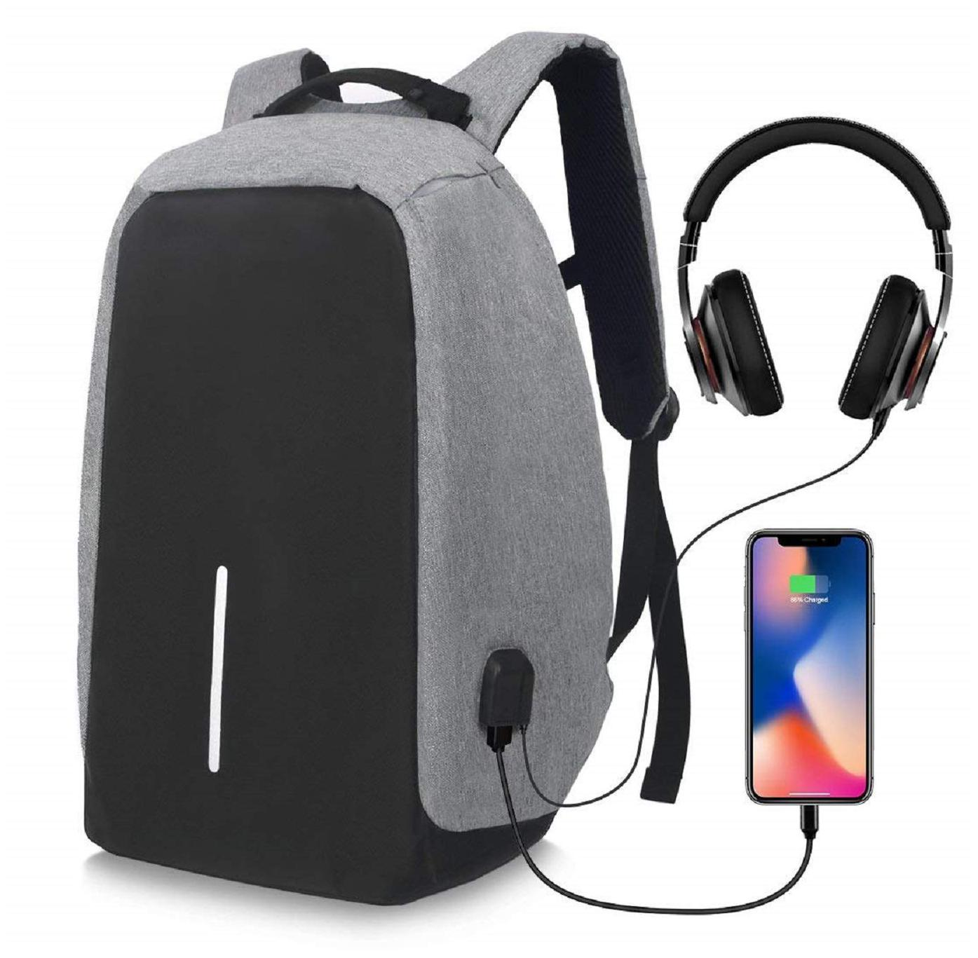 UnTech Anti-Theft B2 Laptop Backpack with USB Charging Port Headphone Port Fit 14 Inch Laptop Water Resistant with a Hidden and Interlayered Zipper