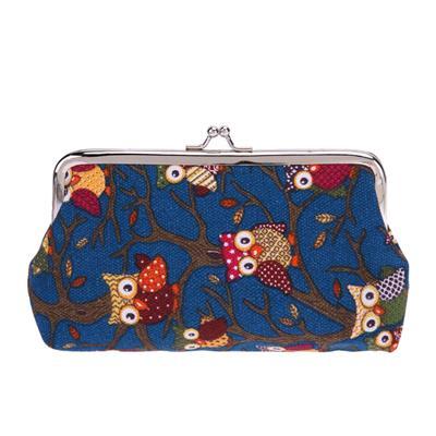 Wallet Coin Owl Canvas Change Purse Clutch Cosmetic Bag Cartoon (Deep Blue)
