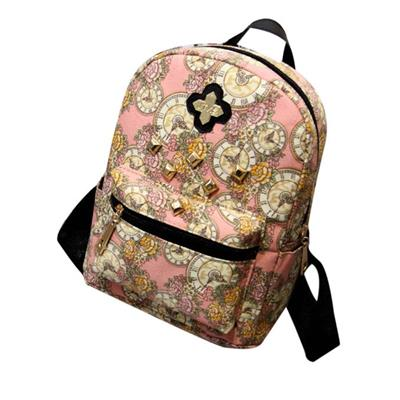 Women Fashion Backpack Clock Flowers Canvas Bag