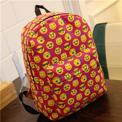 Women Fashion Retro Canvas Smile Print Casual Daypack Student Schoolbag Backpack Travel Bag