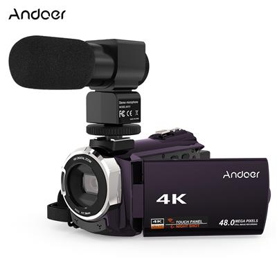 Andoer 4K 1080P 48MP WiFi Digital Video Camera Camcorder Recorder with External Microphone Novatek 96660 Chip 7.62 cm (3 Inch) Capacitive Touchscreen IR Infrared Night Sight 16X Digital Zoom